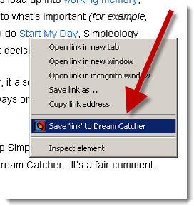 save link to Dream Catcher via the new Simpleology Browser Add-On