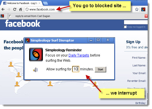 Simpleology Surf Disruptor - interrupts non-productive web surfing
